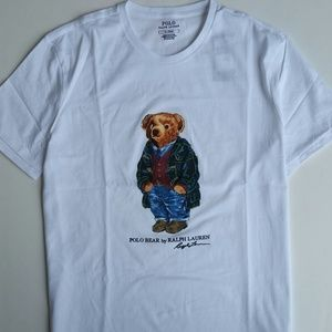 PRICE FIRM Men Ralph Lauren Polo Bear Tee White